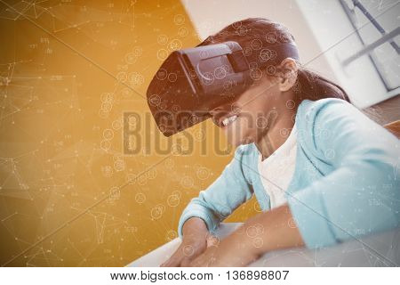 Sphere of icons against girl using a virtual reality device