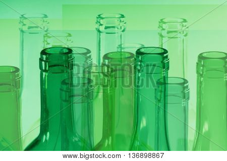 Abstract image of the glass wine bottles