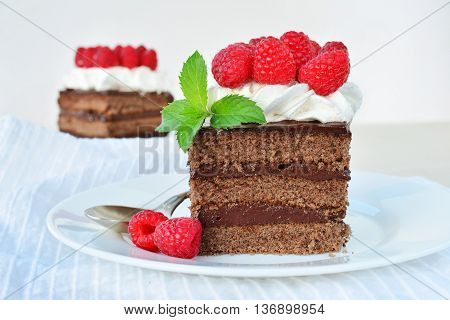 Chocolate cakes with whipped cream icing and fresh raspberry on white plate