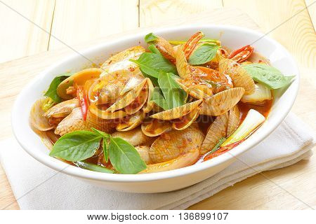 Stir fried clams with roasted chili paste,Thailand food