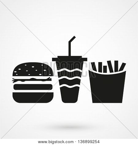 Fast Food Icon On White Background In Flat Style. Simple Vector Illustration
