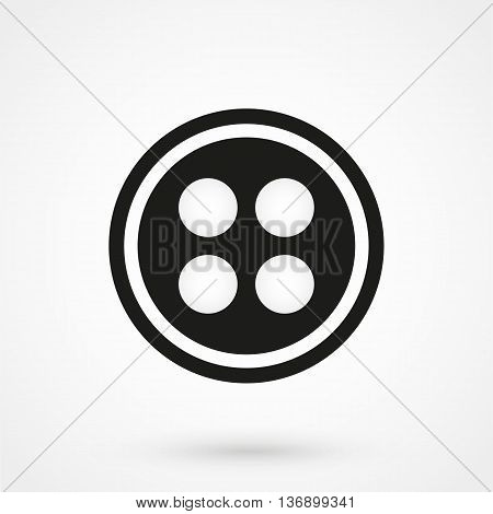 Cloth Button Icon On White Background In Flat Style. Simple Vector Illustration