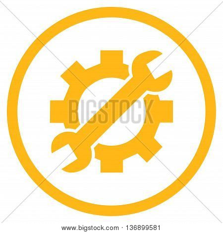 System Setup vector icon. Image style is a flat icon symbol inside a circle, yellow color, white background.