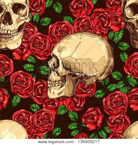 Seamless Gothic Pattern With Color Hand Drawn Skulls And Red Roses