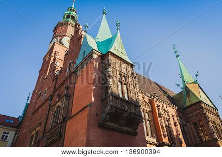 Old Town Hall in Wroclaw, Poland on the sky background