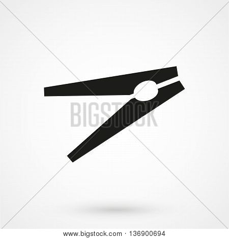 Clothes Pin Icon On White Background In Flat Style. Simple Vector Illustration