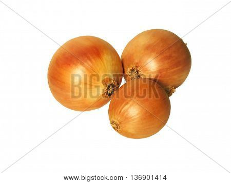 Ripe onions. Three bulbs on a white background.