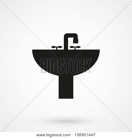 Washbasin Icon On White Background In Flat Style. Simple Vector Illustration