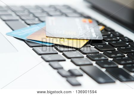 Credit card on a laptop,business concept and selective focus.