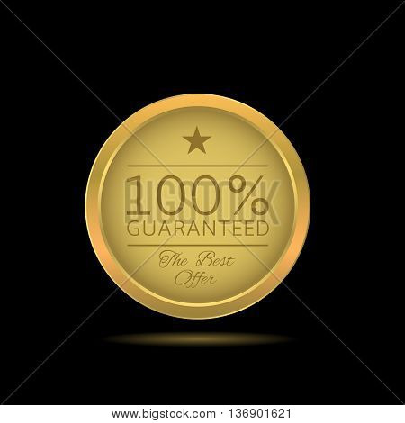 Golden guaranteed label. Guaranteed. Best offer. Golden badge Golden award