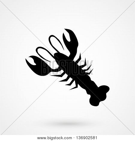 Lobster Icon On White Background In Flat Style. Simple Vector Illustration