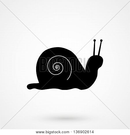 Snail Icon On White Background In Flat Style. Simple Vector Illustration