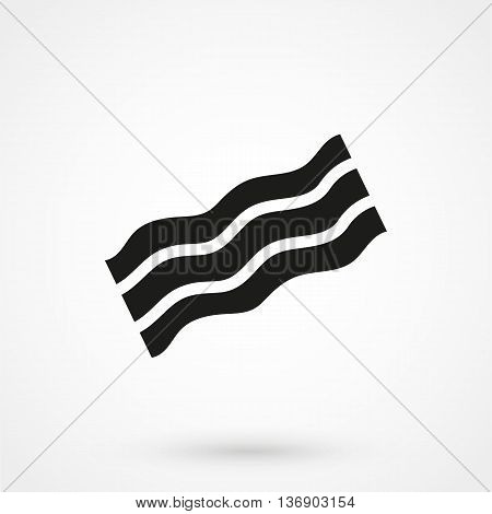 Bacon Icon On White Background In Flat Style. Simple Vector Illustration