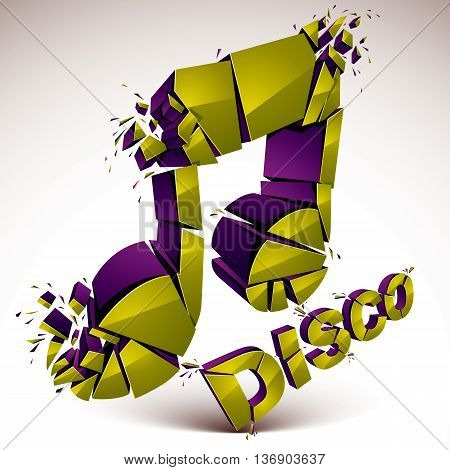 Green 3d vector musical note broken into pieces explosion effect. Dimensional art melody symbol disco music theme.