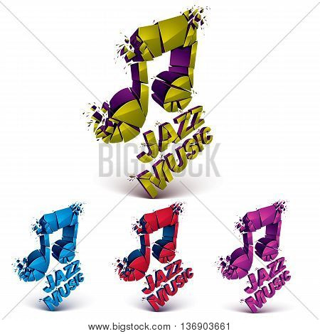 Colorful 3d vector musical notes collection broken into pieces explosion effect. Set of dimensional art melody symbols jazz music theme.