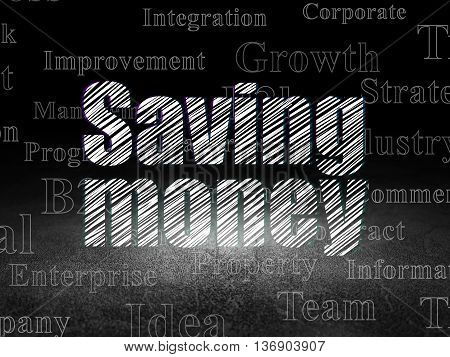 Finance concept: Glowing text Saving Money in grunge dark room with Dirty Floor, black background with  Tag Cloud