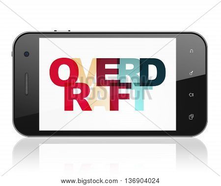 Finance concept: Smartphone with Painted multicolor text Overdraft on display, 3D rendering