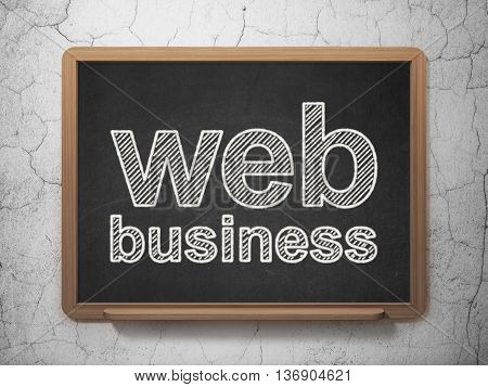 Web development concept: text Web Business on Black chalkboard on grunge wall background, 3D rendering
