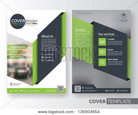 Multipurpose corporate business flyer layout design. Suitable for flyer brochure book cover and annual report. green and black color in A4 size template background with bleeds. Vector illustration