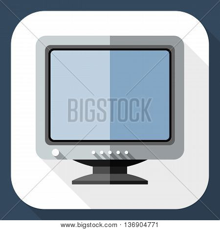 Vector Retro Computer Monitor Icon. Old Computer Monitor Simple Icon In Flat Style With Long Shadow