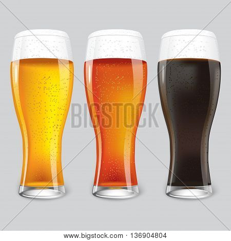 Three Glasses of different beer. dark beer, red beer
