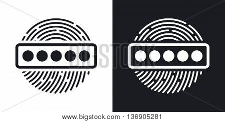 Vector Fingerprint Password Icon. Two-tone Version Of Fingerprint Password Simple Icon On Black And