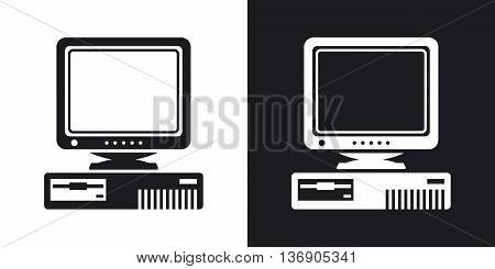 Vector Retro Computer With Crt Monitor Icon. Two-tone Version Of Old Computer With Crt Monitor Simpl