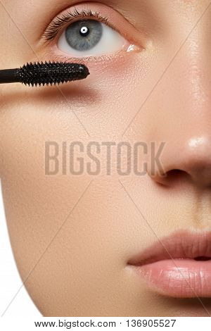 Mascara Applying Close-up, Long Lashes. Eyelashes Extensions