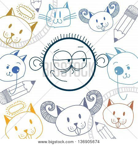 Vector art colorful drawing of happy person education and social network design elements isolated on white. Allegory illustration emotions and human temperament concept.
