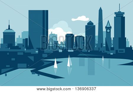 Vector skyline of the city of Boston