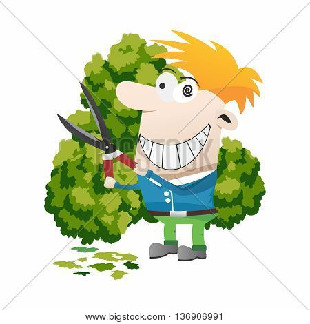 Vector Funny Cartoon Gardner, Trimming Bushes with Shears