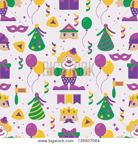 Seamless pattern for Jewish holiday Purim party