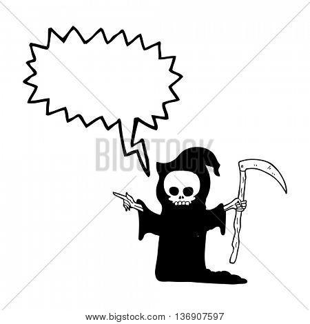 freehand drawn speech bubble cartoon death with scythe