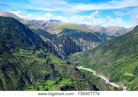 A beautiful mountain landscape and blue  sky