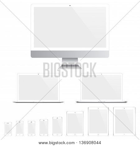 mockup gadget and device white color with blank touch screen isolated on the grey background. stock vector illustration eps10