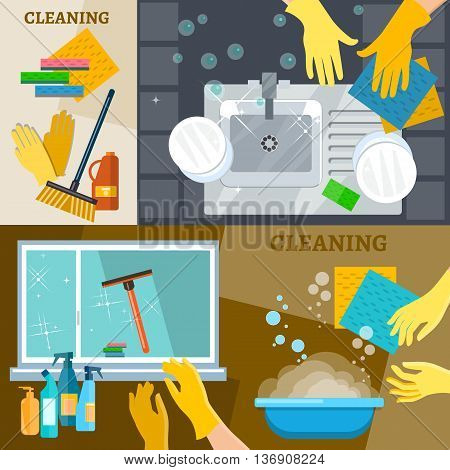 Cleaning service banners hand wash dishes cleaning windows and carpets vector illustration