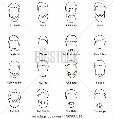 Set of men cartoon hairstyles with beards and mustache. Collection of fashionable stylish hairstyles and beards. Vector illustration with isolated hipsters hairstyles on a white background.