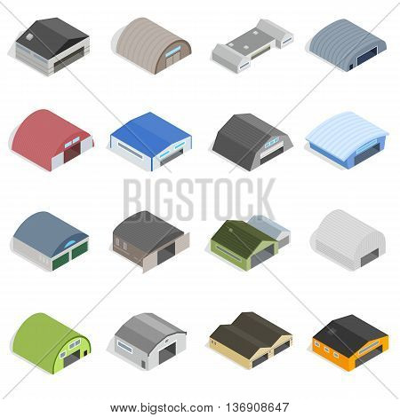 Hangar Icons set in isometrc 3d style isolated vector illustration