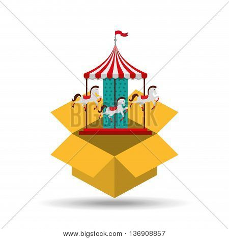 carousel horses isolated icon design, vector illustration  graphic