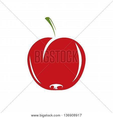 Harvesting symbol single vector red fruit isolated. Ripe organic whole sweet apple healthy food idea design icon.