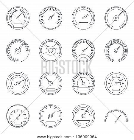 Speedometer icons set in outline style isolated vector illustration