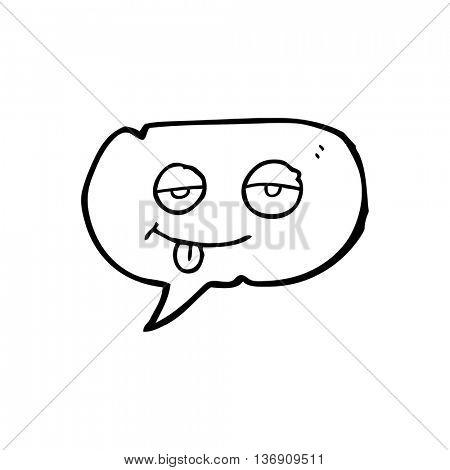 freehand drawn speech bubble cartoon tired eyes