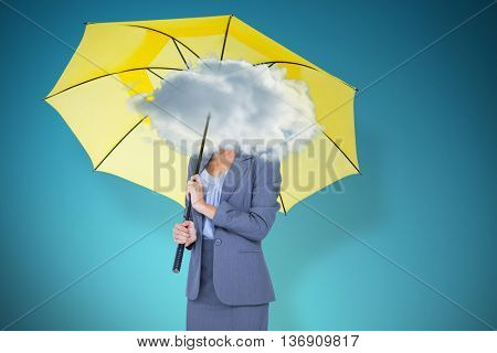 Full length portrait of smiling businesswoman holding yellow umbrella against blue vignette background
