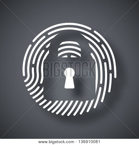 Vector Touch Id Fingerprint Icon. Touch Id Fingerprint Simple Icon On A Dark Gray Background