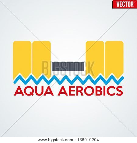 Symbol of Aqua Aerobics and Aqua Fitness. Vector illustration Isolated on background.