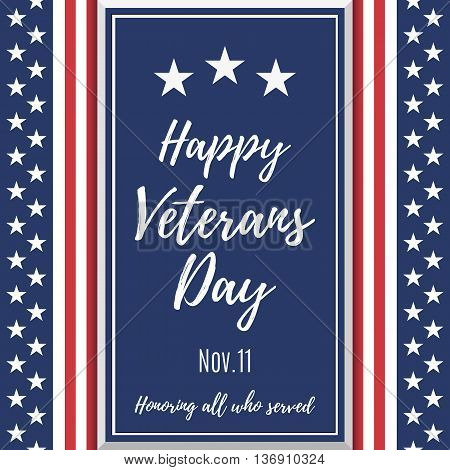 Happy Veterans Day background. Poster or brochure template. Vector illustration.