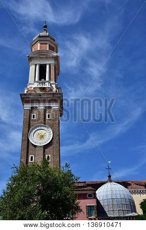 Church of the Holy Apostles of Christ baroque bell tower with clock built between 17th and 18th century