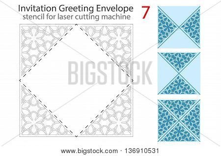 Envelope template 7 For Laser cutting. Square format. Die of wedding and invitation card. Vector Illustration isolated on white background.
