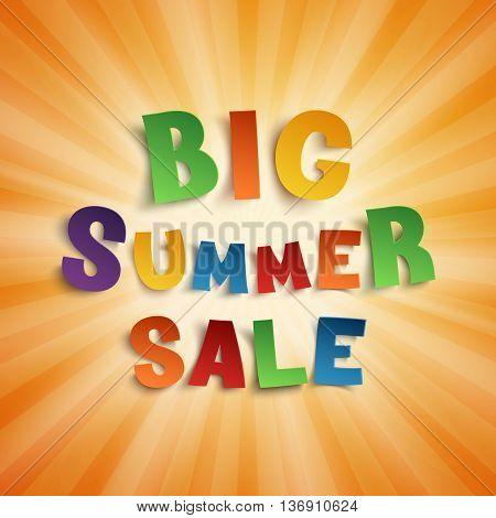 Big summer sale, hand drawn typeface on orange background. Vector illustration.