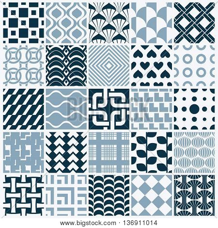 Collection of vector abstract seamless compositions symmetric ornate backgrounds created with simple geometric shapes. Black and white.